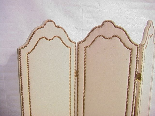 240: Studded Fabric Folding Screen Room Divider with t - 2