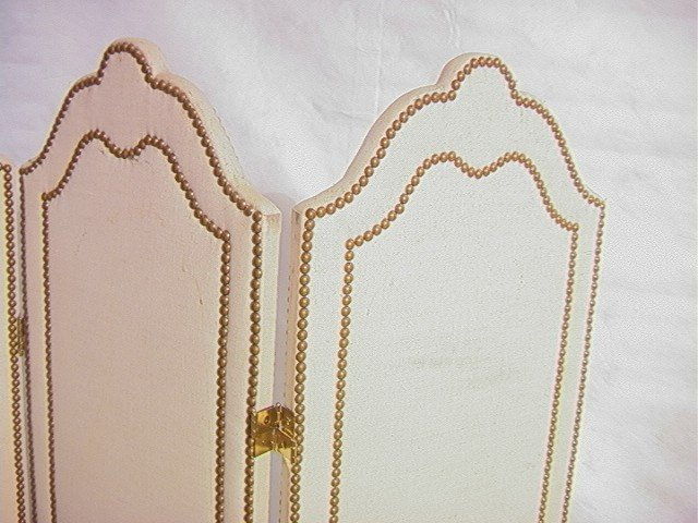 240: Studded Fabric Folding Screen Room Divider with t - 3