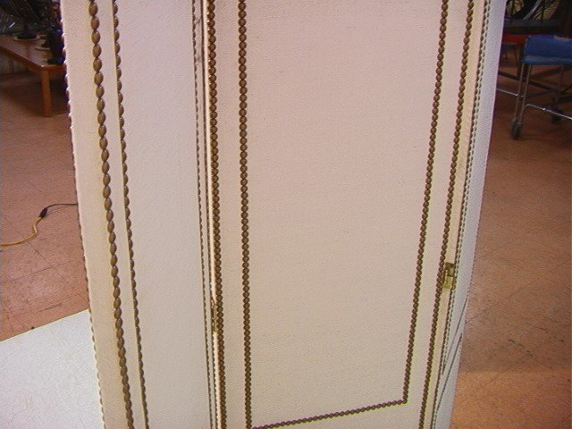 240: Studded Fabric Folding Screen Room Divider with t - 7