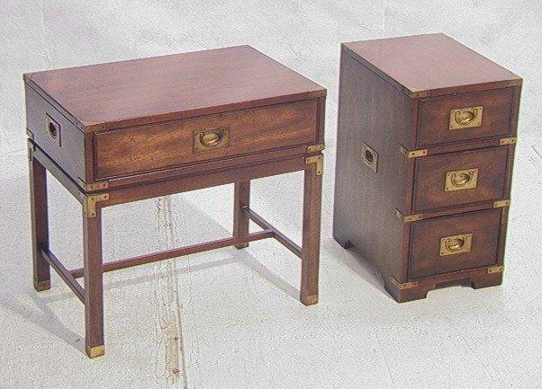 246: 2pcs Heritage Campaign Furniture. Small Chest An