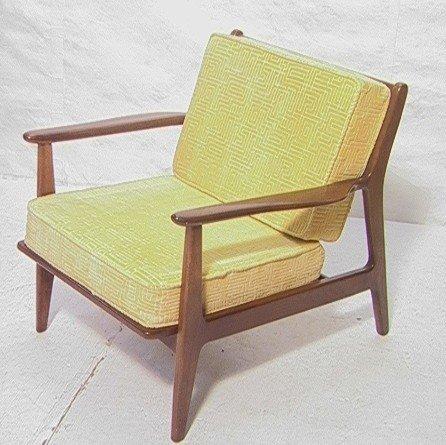 258: American Modern Walnut Lounge Chair.  Baumritter.