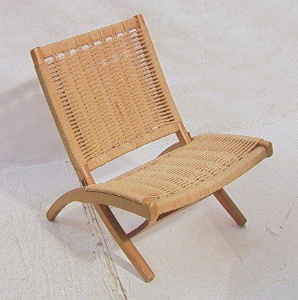 262: Wegner Style Folding Chair.  Cord woven back and