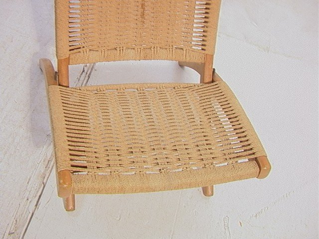 262: Wegner Style Folding Chair.  Cord woven back and - 2
