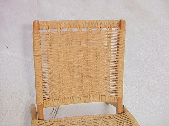 262: Wegner Style Folding Chair.  Cord woven back and - 3