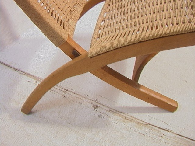 262: Wegner Style Folding Chair.  Cord woven back and - 4