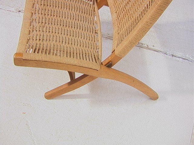 262: Wegner Style Folding Chair.  Cord woven back and - 5