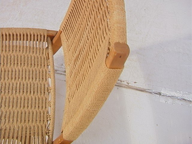 262: Wegner Style Folding Chair.  Cord woven back and - 6