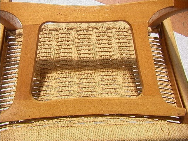 262: Wegner Style Folding Chair.  Cord woven back and - 7