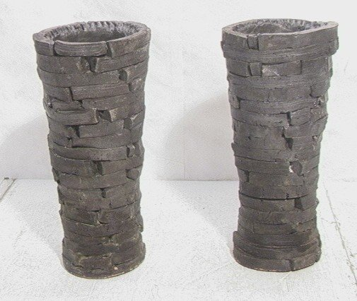 13: Pair Peter Lane Clay Planter Floor Vases.  Marked