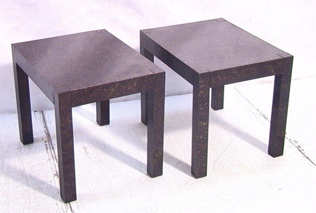 20: Pair of DREXEL Tortise End Tables Oil Spot design