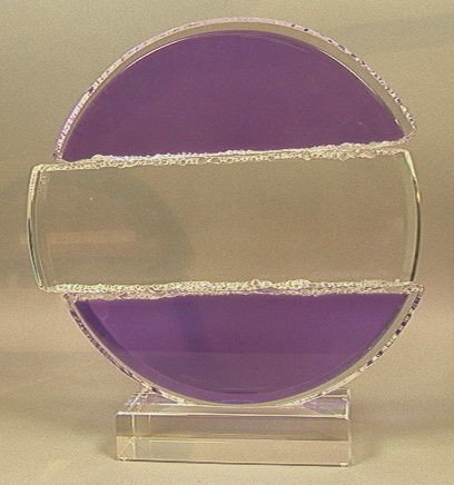 4: Signed Modernist Lucite Acrylic Sculpture.  Purpl