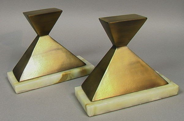 13: W. Macowski 1971 Bronzed Metal and Onyx Bookends.