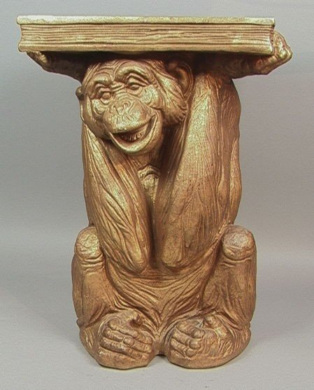14: Figural Monkey With Book Pedestal Side Table.  Gi
