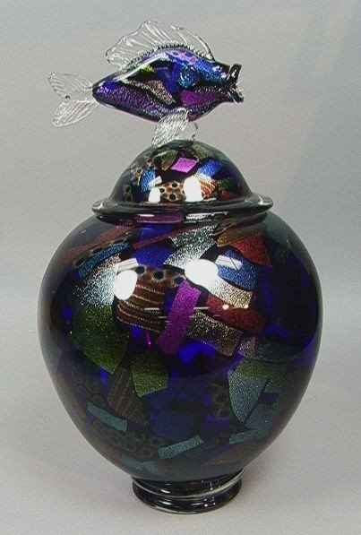 20: Studio Art Glass Covered Vessel Vase w/ Fish Finial