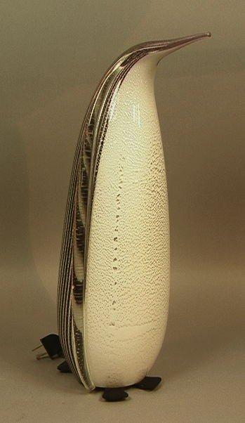 43: Murano Art Glass Penguin Lamp.  Silver flecked gl