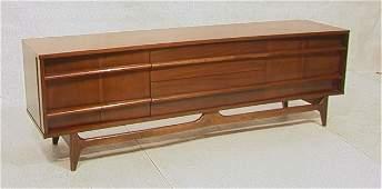 307: American Modern Walnut Low Sideboard Credenza Cab