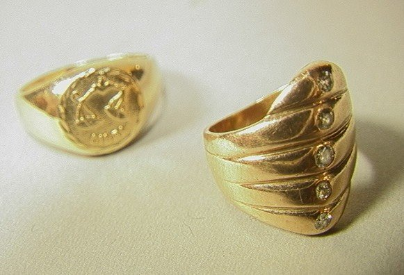 681: Two 14K Gold Ladies Rings. (1) 14K Band with 5 se