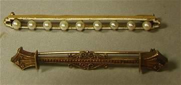 688 K Gold Antique Pins  Yellow Gold Bar Pins