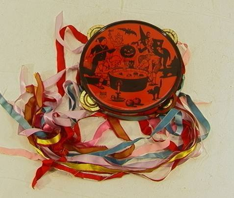4: J Chein Halloween Tin Tambourine Noisemaker  7 inche