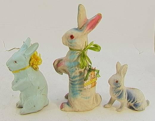 9: 3 German Composition Easter BunniesTallest is 10 inc