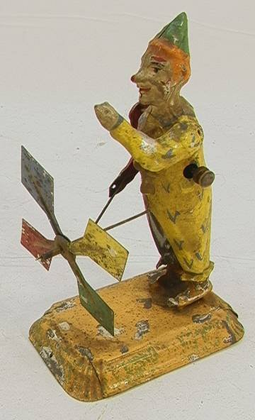 11: Vintage German Tin Clown Spinner  Pully driven   Di