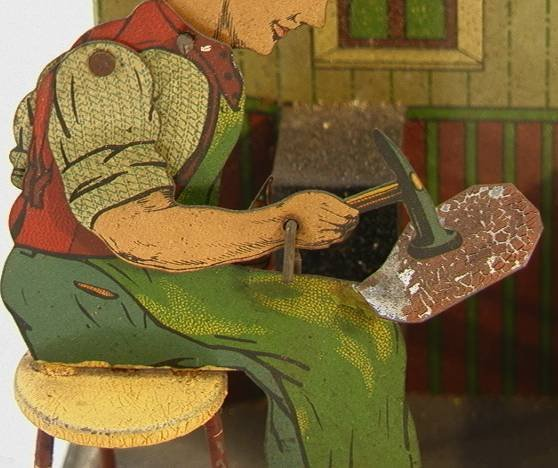 14: German YK Tin Cobbler Shoemaker Mechanical Toy  Win - 2