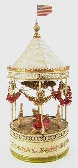 18: Antique German Tin and Canvas Carousel Mechanical