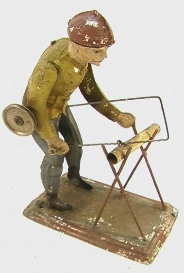 19: German Tin Mechanical Man Sawing Wood pully driven