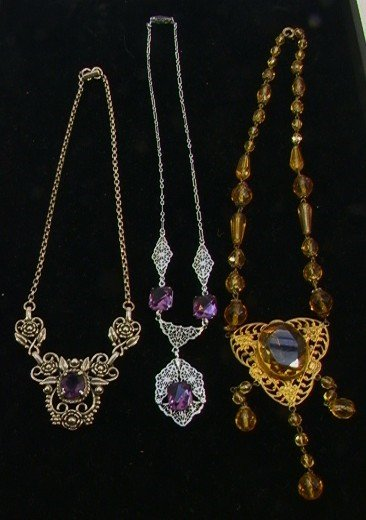 201: LOT 3 Vintage Costume Necklaces. Yellow crystal &