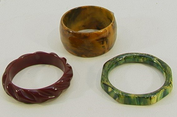 203: LOT 3 Bakelite Bracelets Carved, Marbleized  Wide.