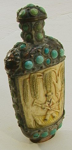 204: Jeweled Carved Bone Oriental Snuff Bottle.    Dime