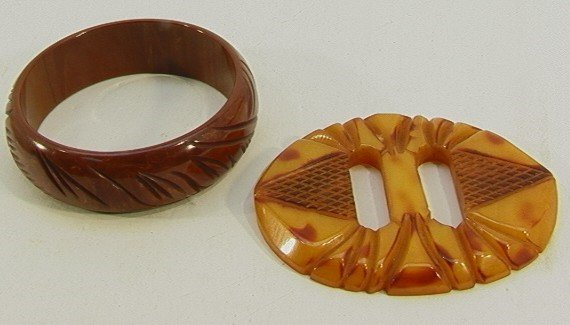 207: 2 PC Bakelite Lot CARVED BRACELET, Buckle. Wide le