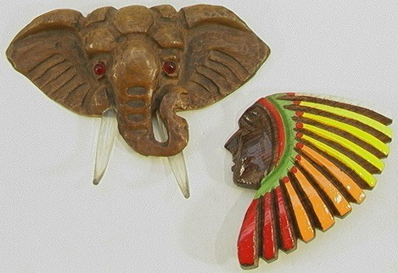 216: 2 Carved Wood FIGURAL PINS ELEPHANT NATIVE INDIAN.