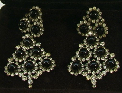218: Pr Large KJL Rhinestone Chandelier Earrings.  Kenn