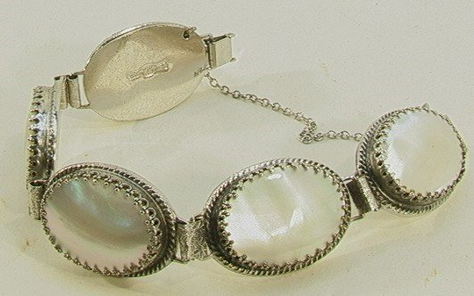 222: Whiting Davis Mother of Pearl Bracelet. Five oval