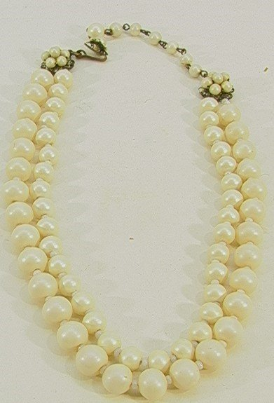 223: Miriam HASKELL Faux Pearl Double Strand Necklace.