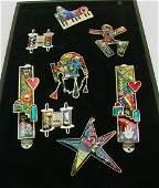 8 PC YOSSI STEINBERG enamel jewelry PINS JUDAICA