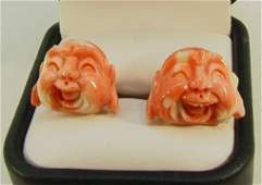 299 Coral 14K GOLD Cufflinks Carved Faces  Well carve
