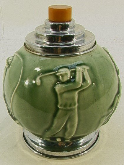 1007: Rookwood Pottery Sporting Cigarette Dispenser. Gr