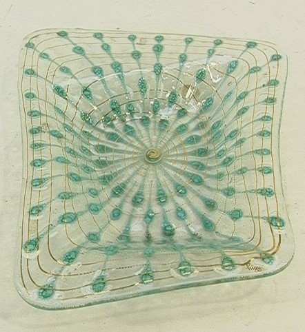 1013: Higgins Art Glass Biomorphic Dish GOLD MARK.  Tur