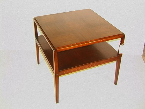1096: Charak Furniture Co. Square Parquet Top Table. Ha