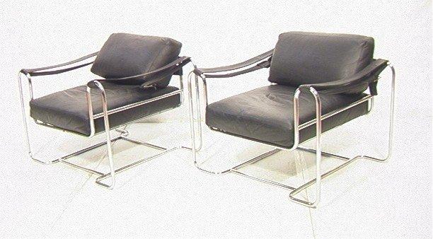 1: Pr Tubular Chrome Lounge Chairs. Black Leather Cu