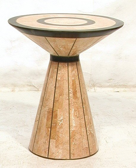 3: MAITLAND SMITH Tabouret Table. Tessellated Pink M