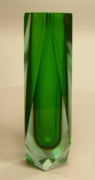 7: MURANO Cased Glass Vase.  Faceted Clear Vase with