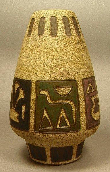 10: Large Artist Signed Ceramic WEST GERMAN Vase. Peb