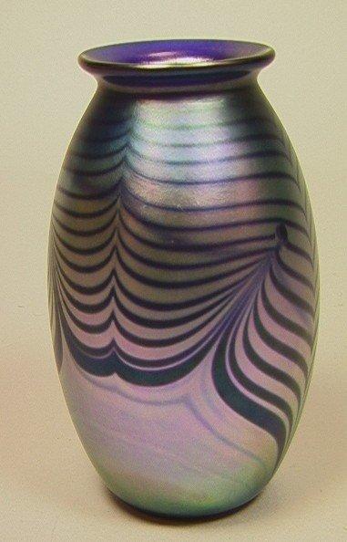 11: ROBERT EICKHOLT 1985 Art Glass Vase. Peacock Feat
