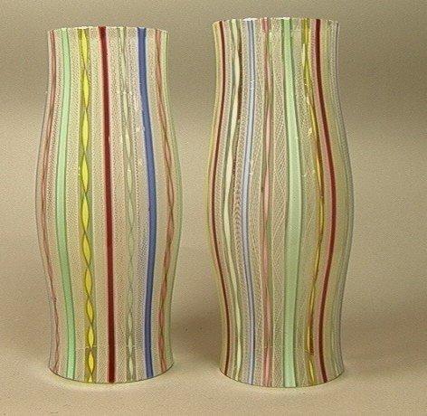 16: Pr Murano Art Glass Hurricane Shades.  VENINI sty