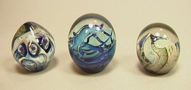 18: 3 ROBERT EICKHOLT Paperweights. Three Art Glass P