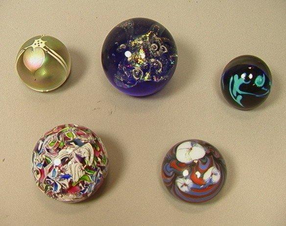 23: 5 Artist Signed Art Glass Paperweights. Abelman,