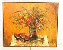 240 Signed Large Oil Canvas Painting Still Life with